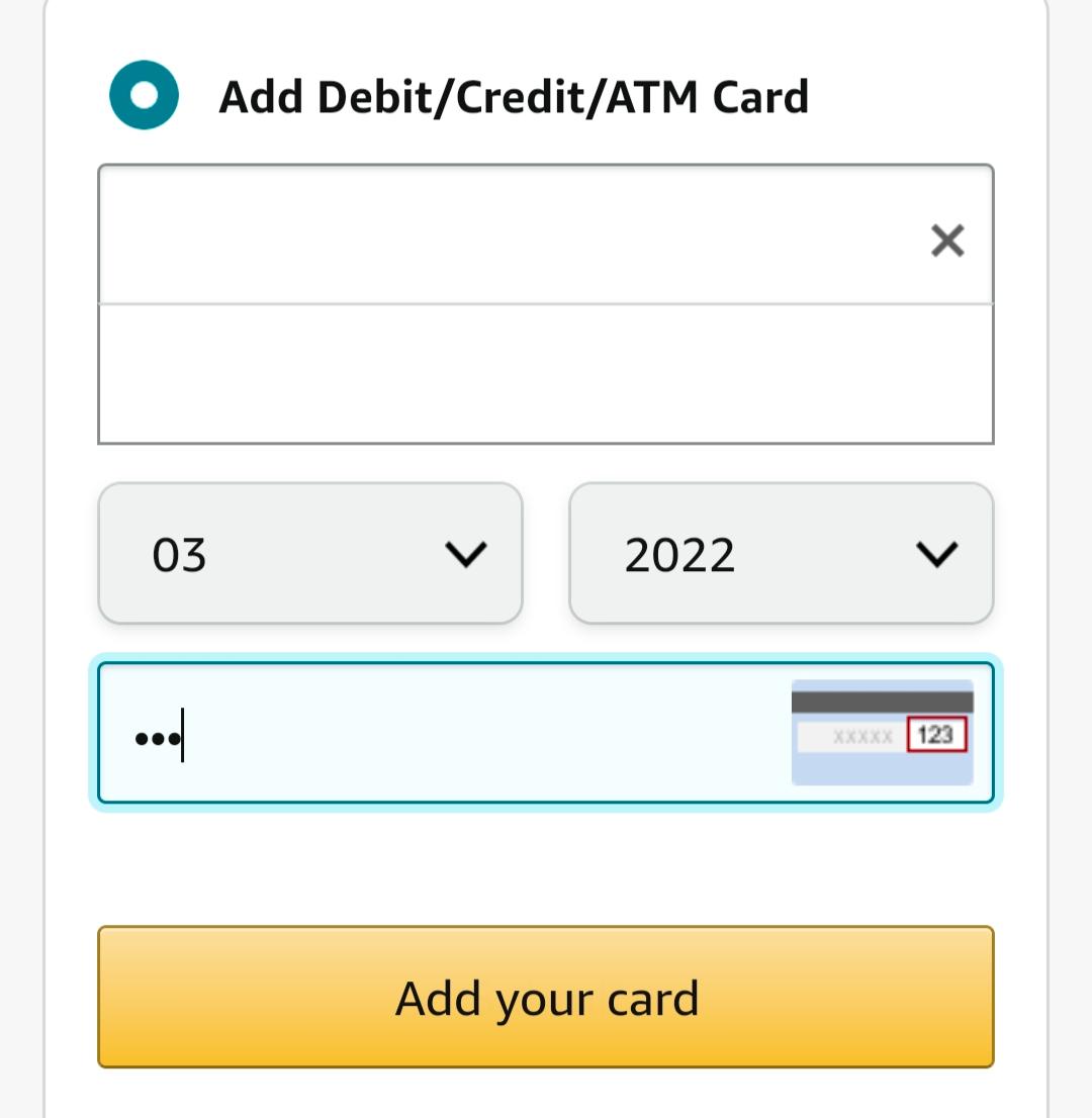 Add Credit Card details